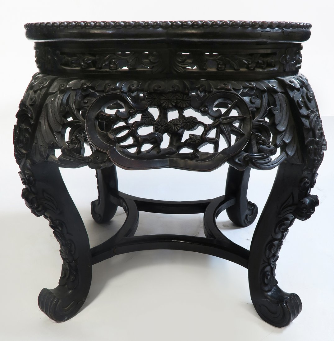 19th C. Chinese Wood & Marble Stand/Coffee Table - 2