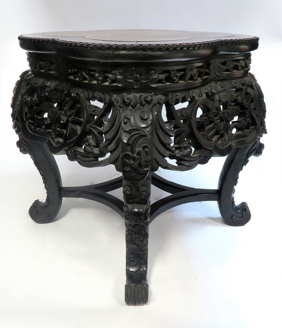 19th C. Chinese Wood & Marble Stand/Coffee Table - 3