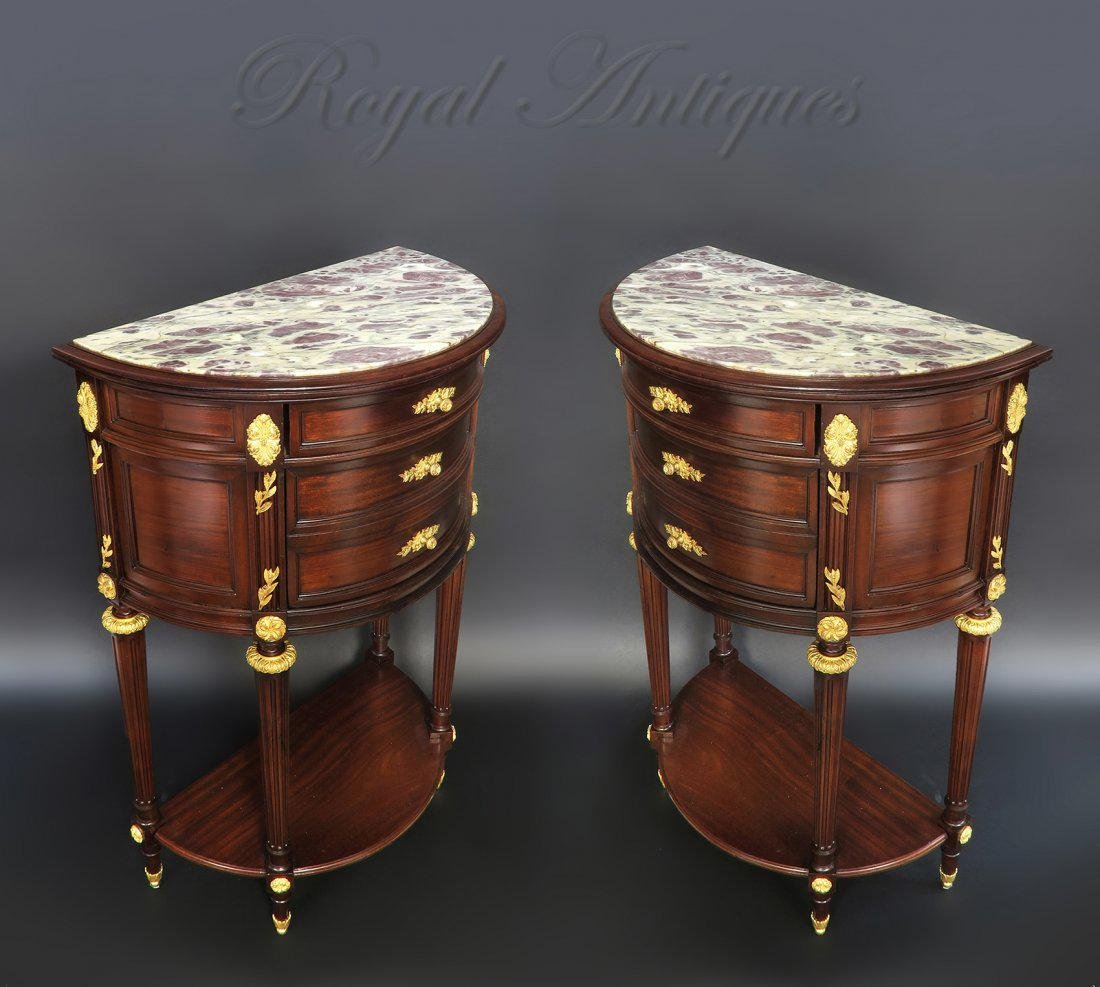 Very Fine Pair of French Demi Lune Side Tables