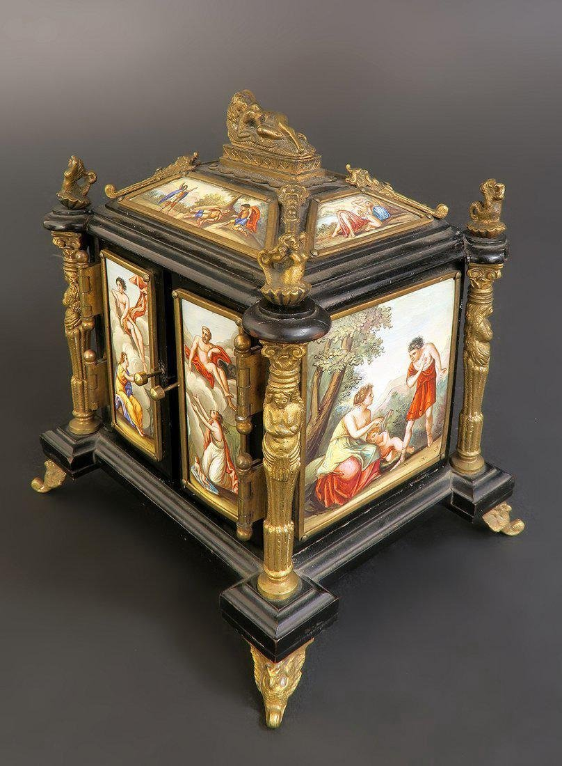 19th C. Viennese Enamel & Bronze Jewelry Box/Casket
