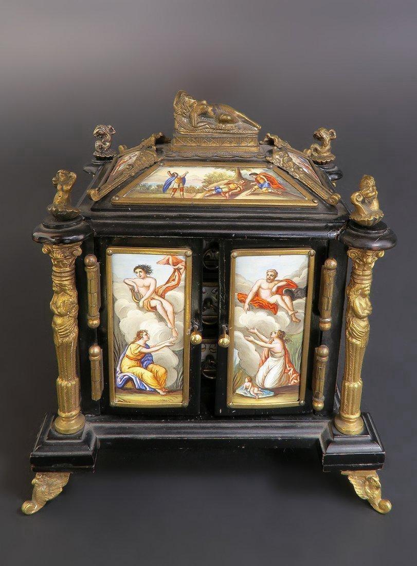 19th C. Viennese Enamel & Bronze Jewelry Box/Casket - 2