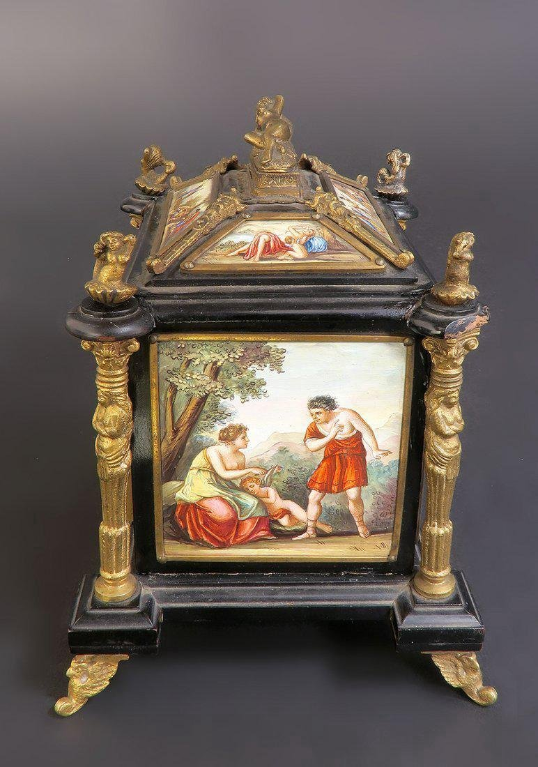 19th C. Viennese Enamel & Bronze Jewelry Box/Casket - 3