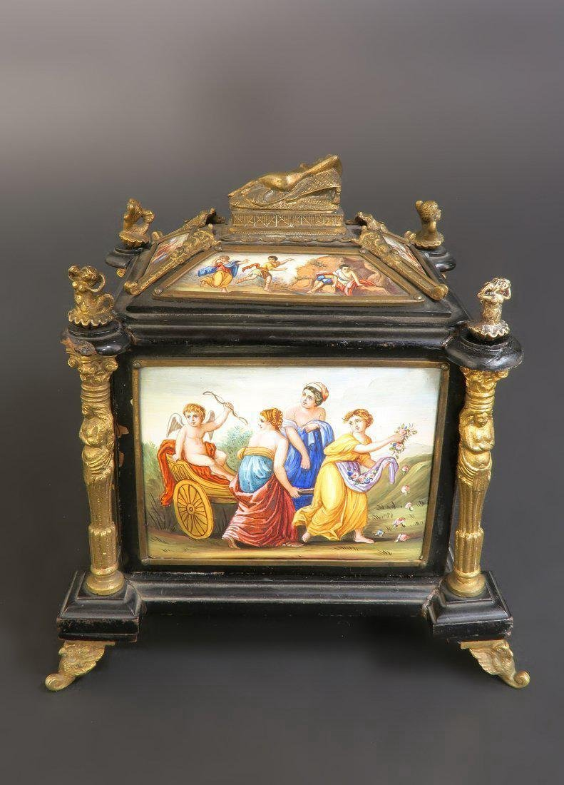 19th C. Viennese Enamel & Bronze Jewelry Box/Casket - 4