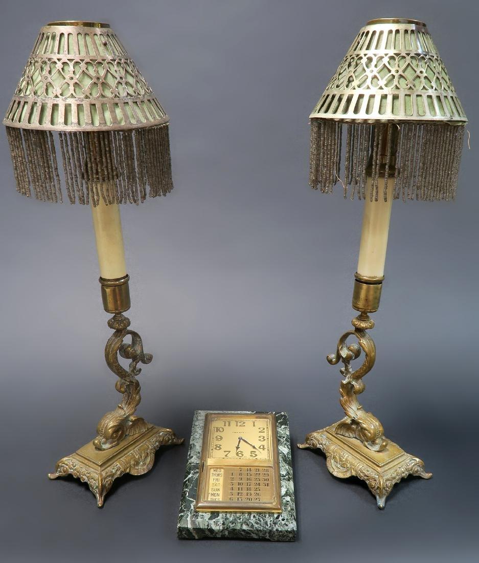 Tiffany & Co. Pair Of Candlestick & Desk Clock Set