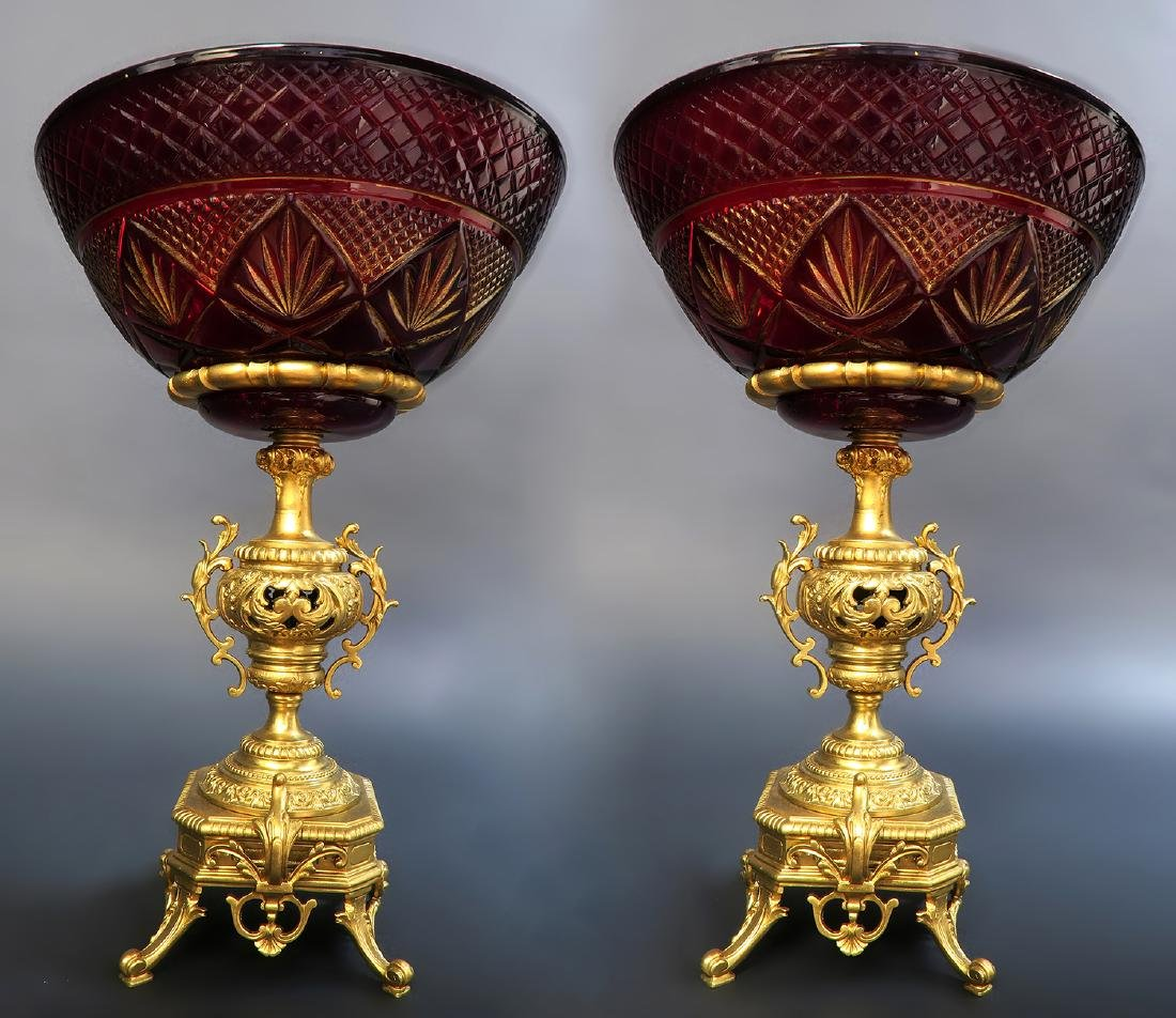 Pair of 19th C. French Bronze/Ruby Crystal Centerpiece