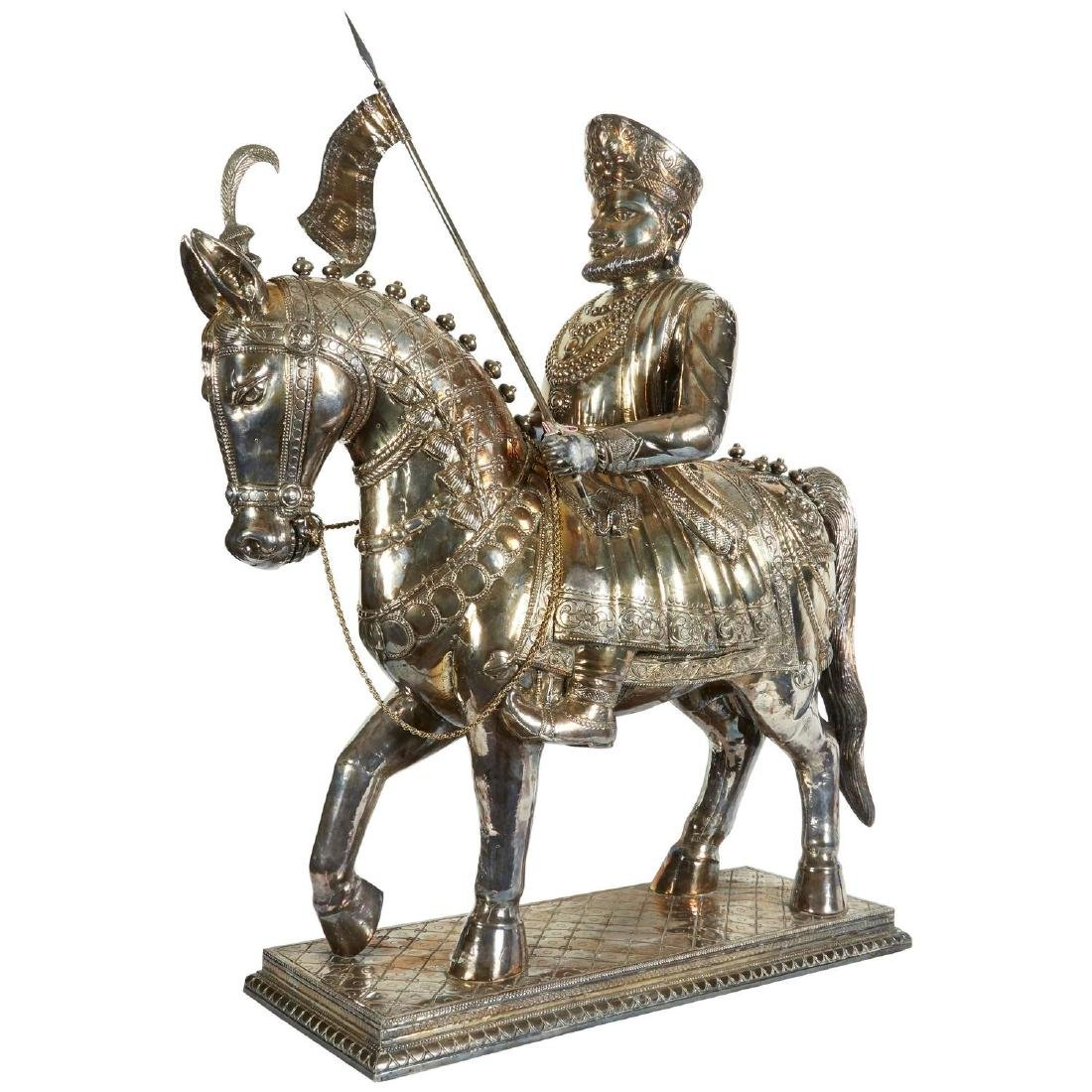 """Bombay Cavalryman"" Colonial Indian Silver over Wood"