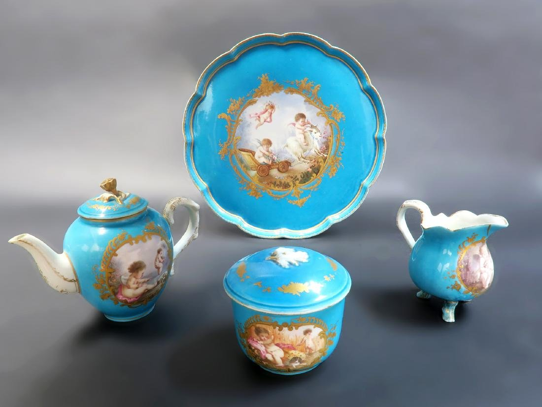 19th C. French Sevres Hand Painted Tea Sets