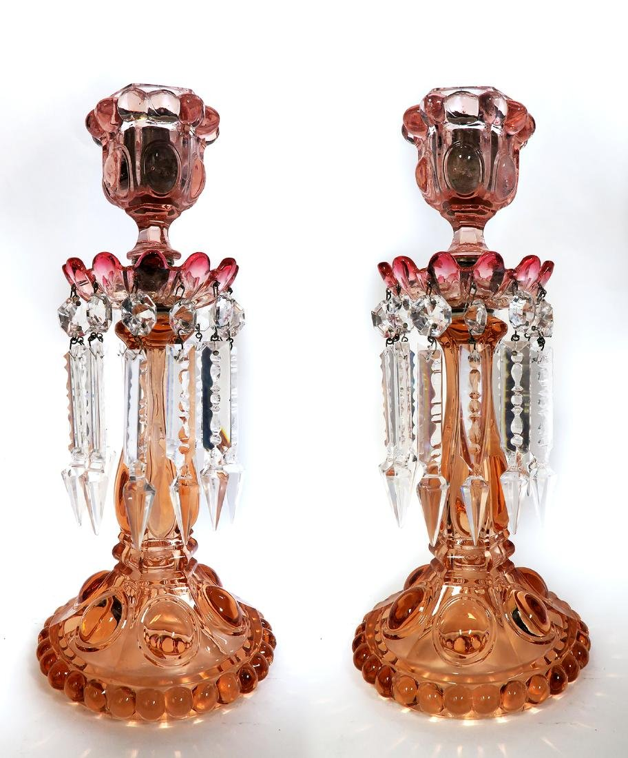Pair of French Baccarat Crystal Candle Sticks