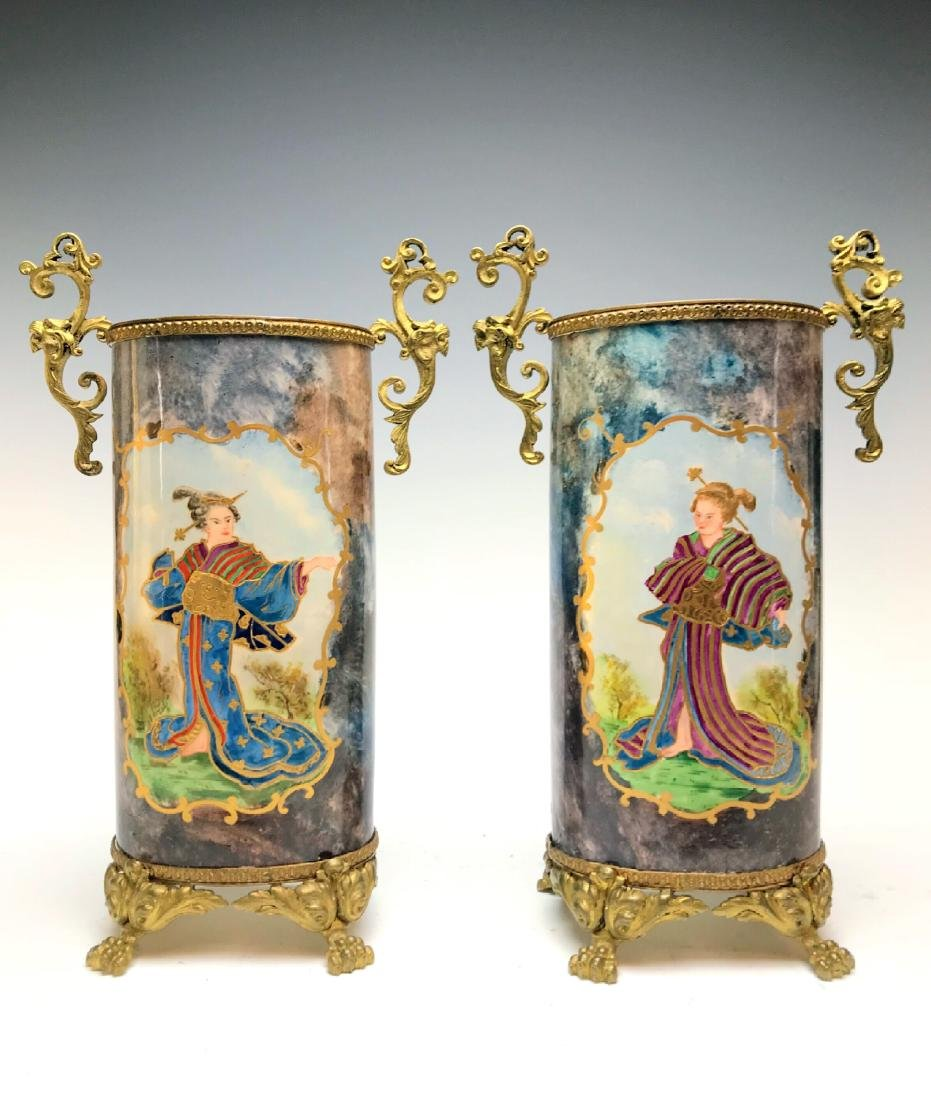 Magnificent Pair of 19th C. French Japonisme Vases