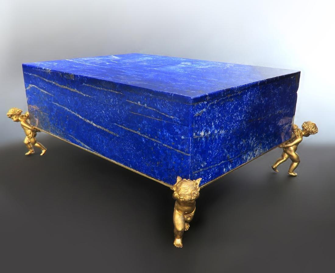 Large Figural Bronze & Lapis Jewelry Box