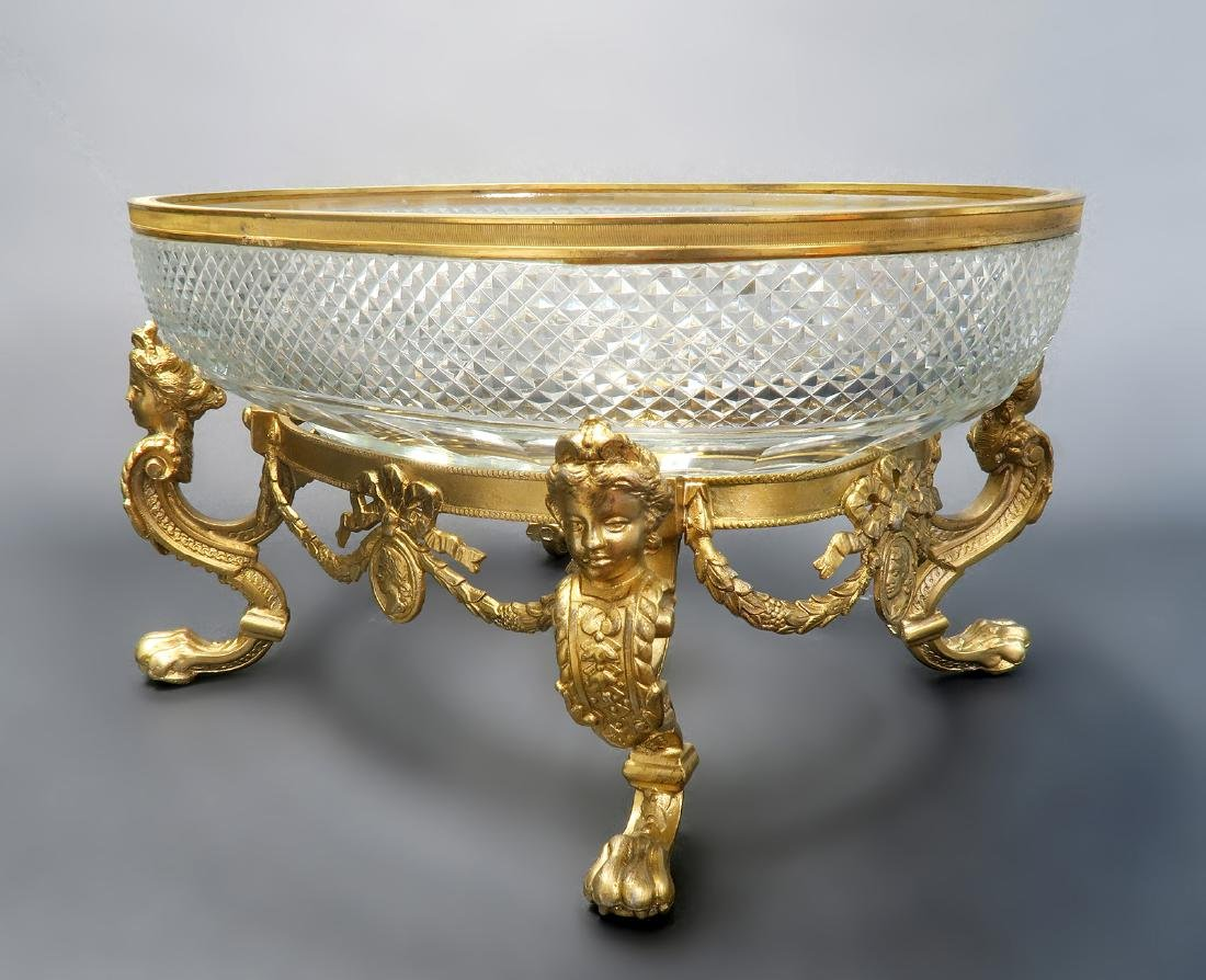 French Figural Bronze / Baccarat Crystal Centerpiece