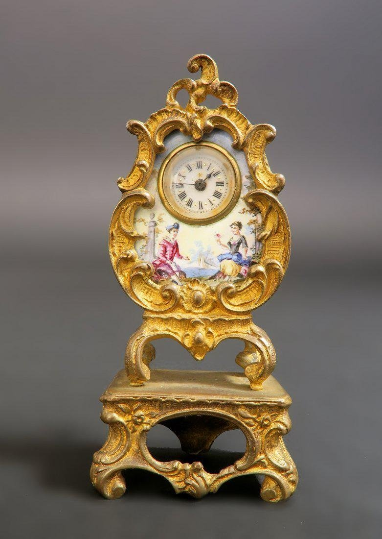 19th C. Viennese Enamel on Bronze Clock