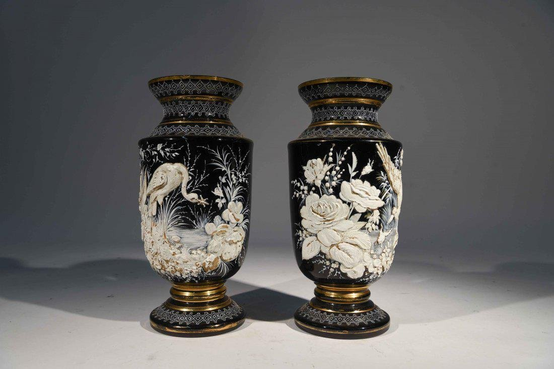 LARGE PAIR OF 19th C. ENAMEL ON GLASS VASES
