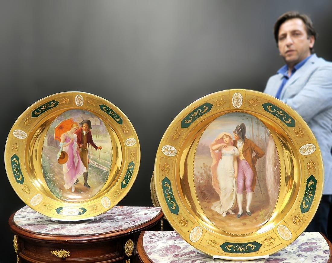 Large Pair Royal Vienna Porcelain Plates