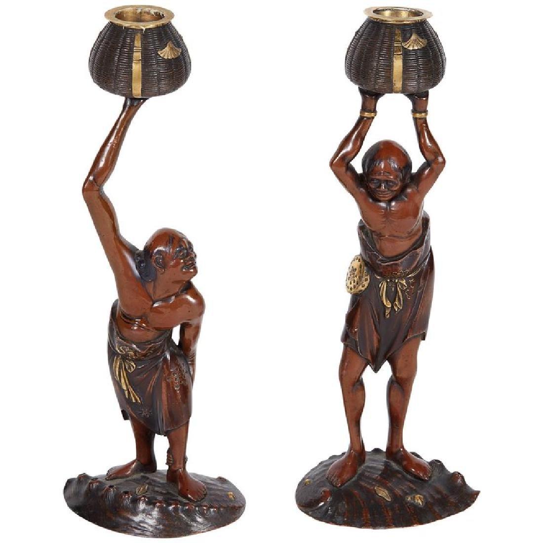 Pair of Japanese Meiji Metal/Bronze Oni Figures Signed