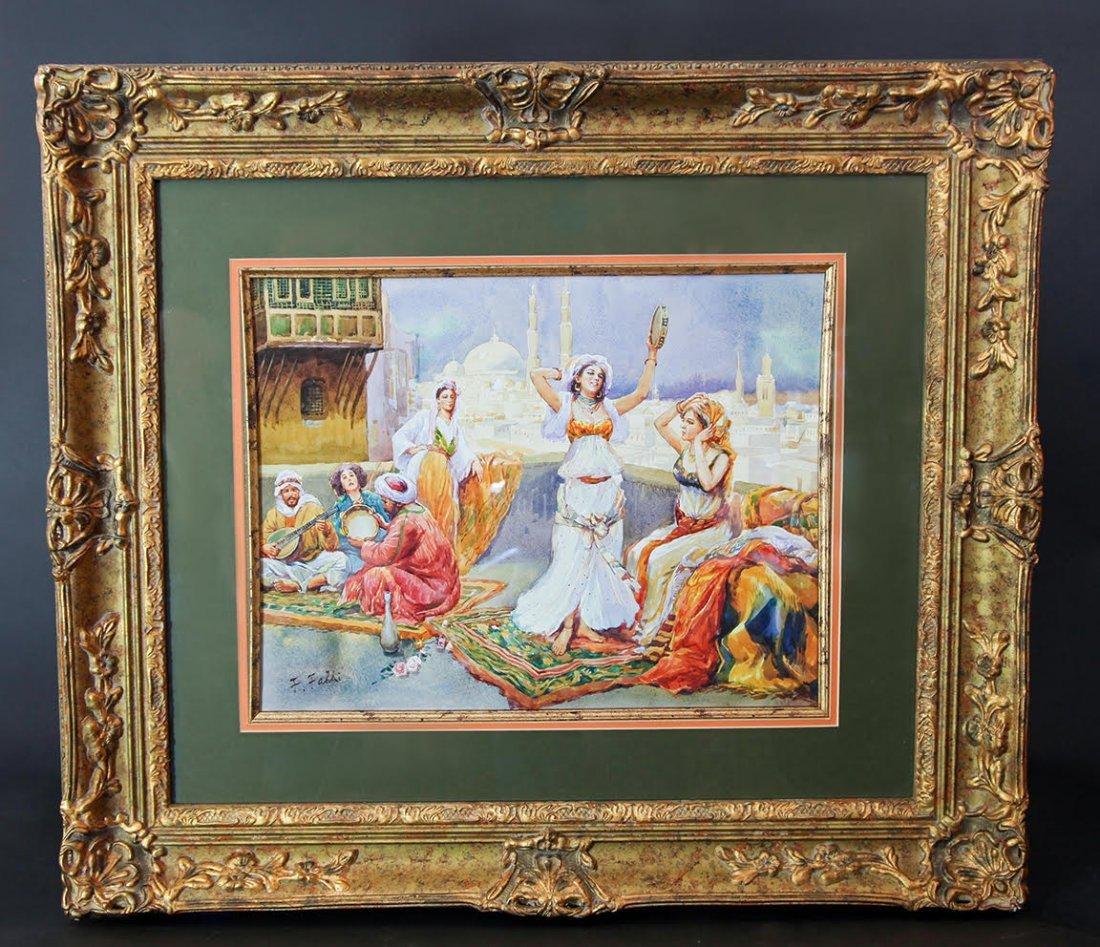 "Fabio Fabbi (1861-1946) Watercolor ""Oriental Dance"""