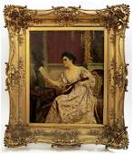 19th C Monumental Painting on Board A. Van Antro