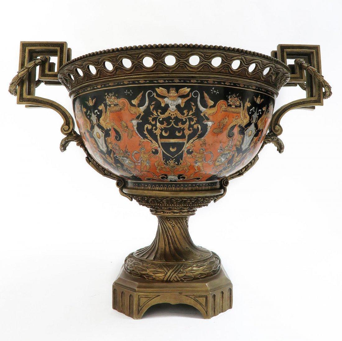Large Chinoiserie Porcelain & Bronze Centerpiece