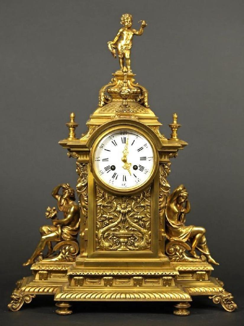 French Gilt bronze louis clock Louis XV Style Clock