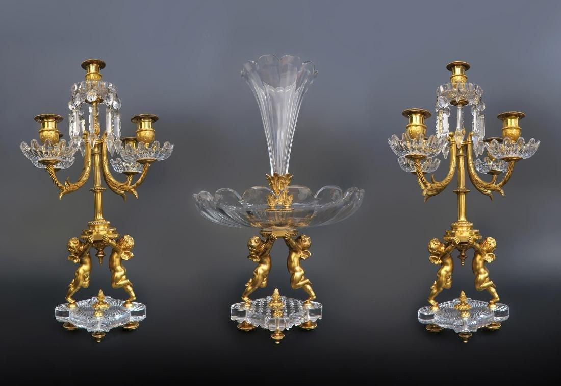 19th C. French Baccarat Figural 3 Pcs Garniture
