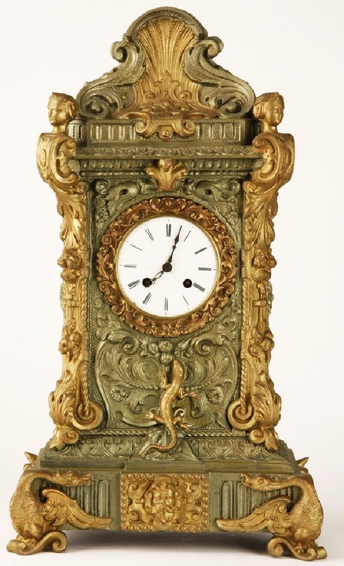 19th century French Renaissance Revival gilt clock