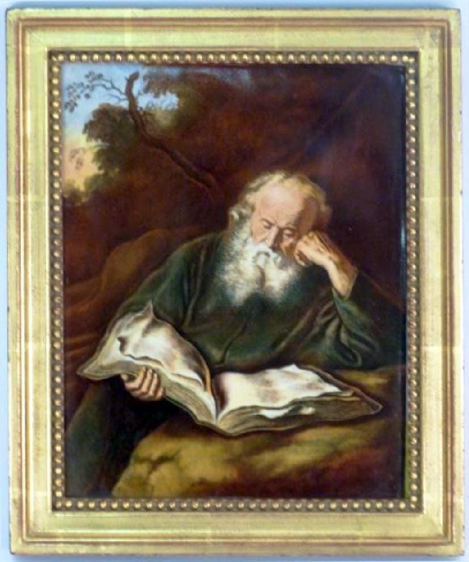 """""""Bearded Man Reading"""" Framed Porcelain Plaque"""