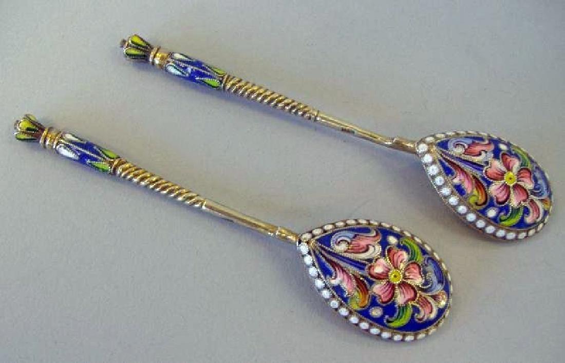 Two Russian Gilt Silver & Cloisonne Enamel Spoons