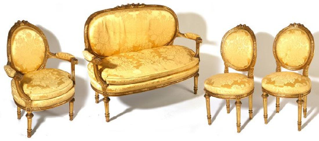 Louis XV Syle Gilt 5pcs Settee and chairs