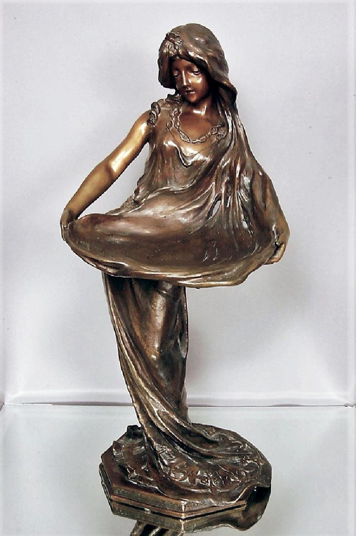 """Lady with a Tray"" French Art Noveau Bronze statue"