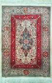 Fine 100% Silk Turkish Rug Signed Hereke