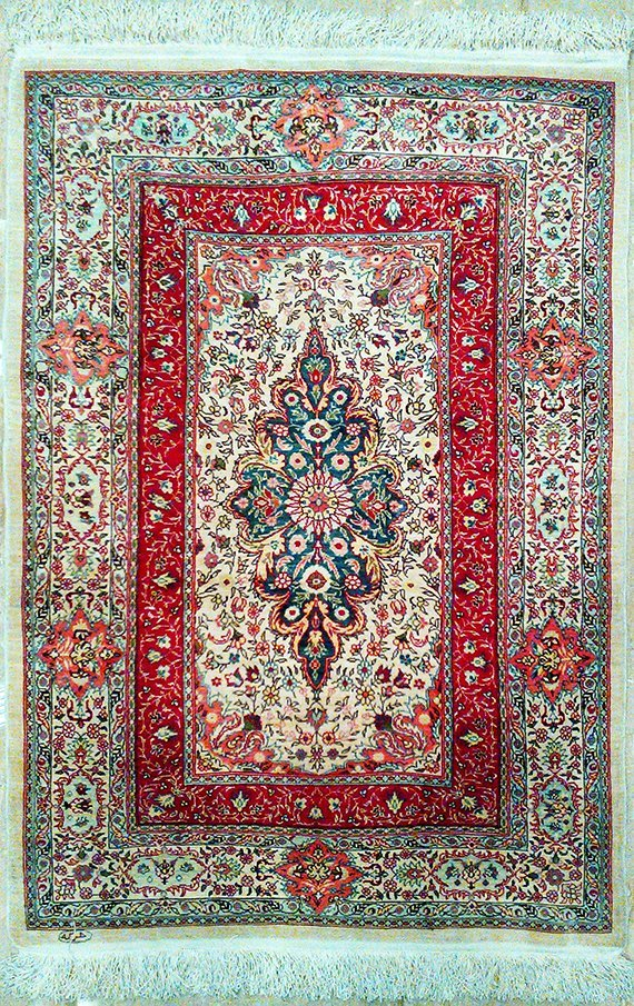 Fine 100% Silk Turkish Rug Signed Hereke