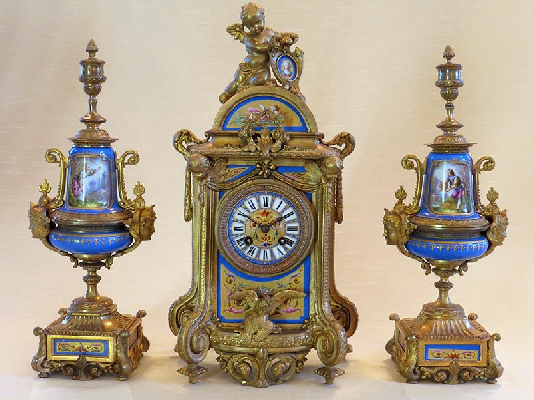 19th C. Sevres Porcelain and Dore' Garniture Clock Set