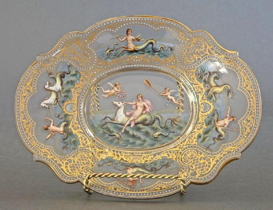 19th C. Moser/Lobmeyr Hand Painted Enameled Plate
