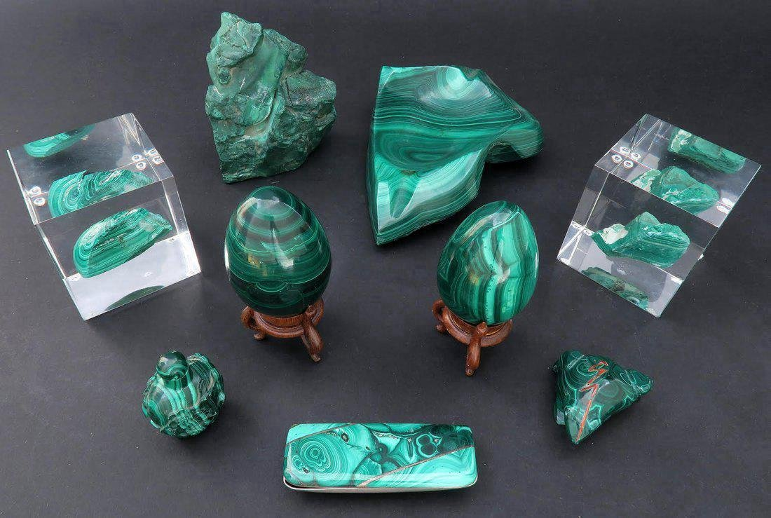 Lot of 9 pieces Malachite Desk Set