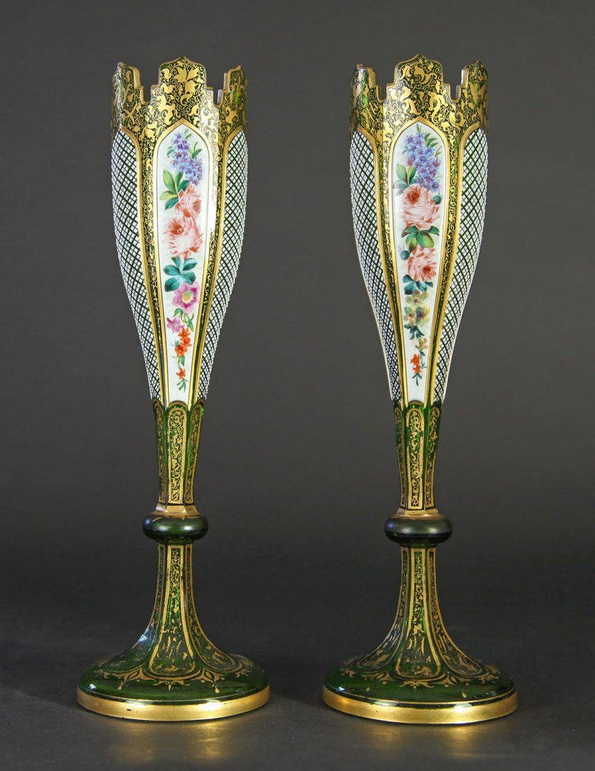 19th C. Pair of Diamond Cut Moser Enameled Vases