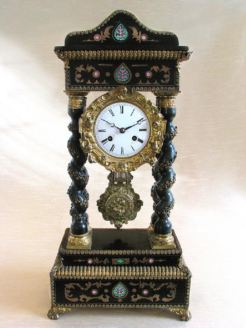 Rare 19th C. Japy French Inlaid Portico Mantel Clock