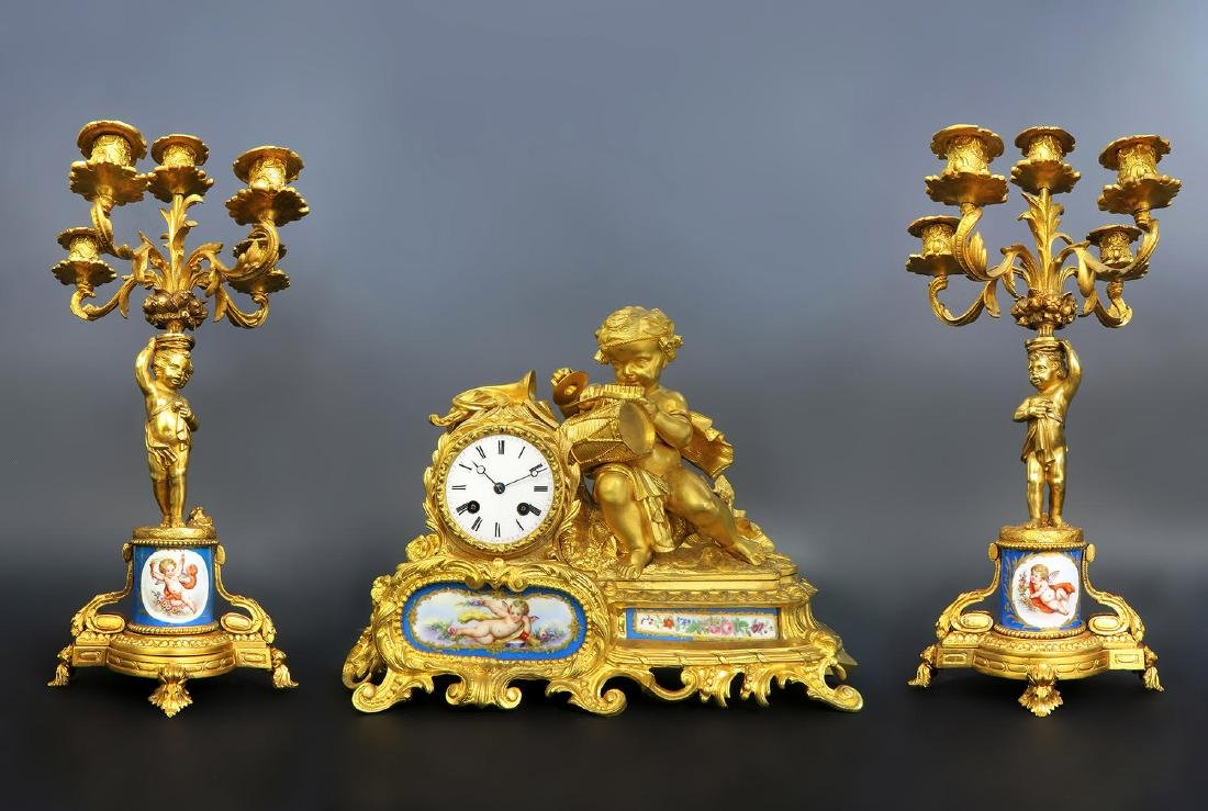 19th C. Figural Bronze & Sevres Porcelain Clock Set