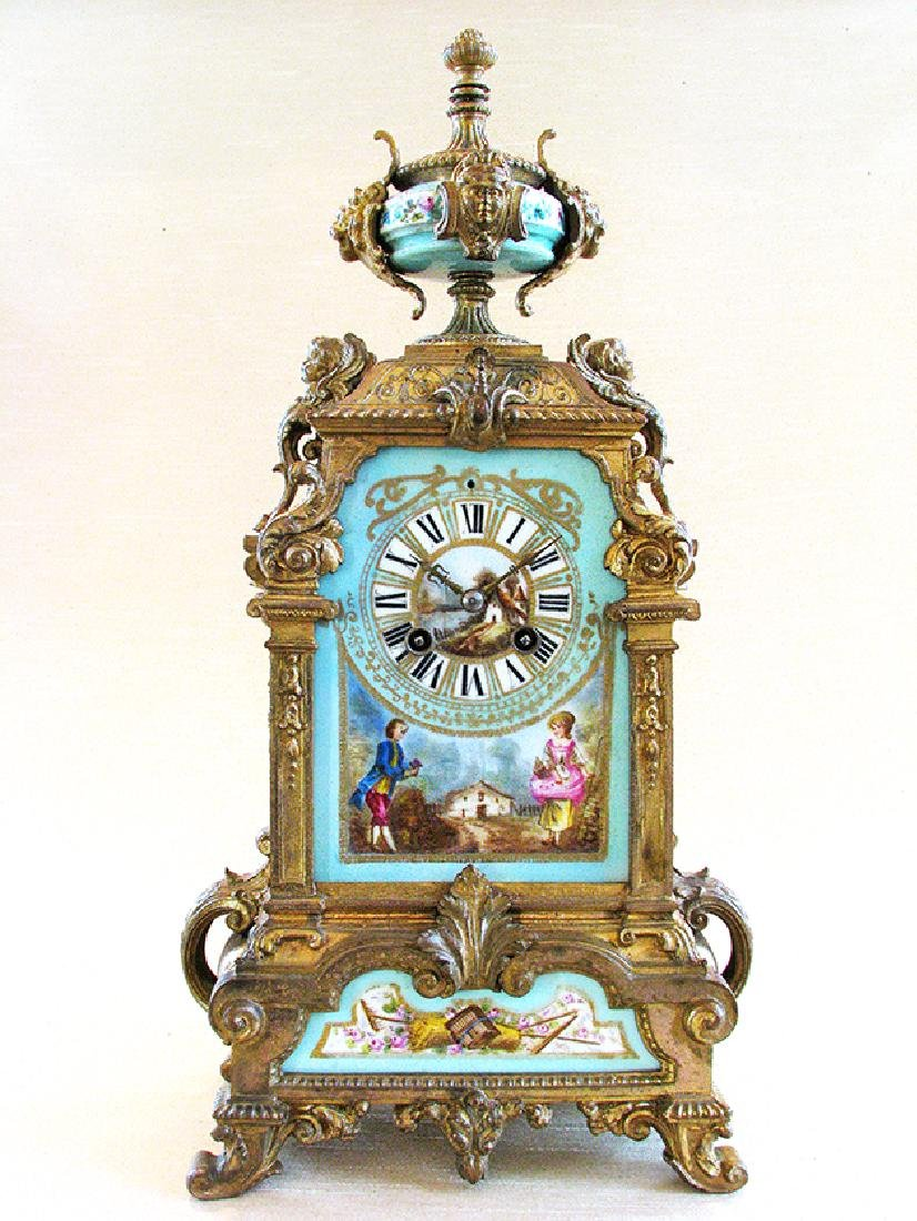 Turquoise Blue Hand Painted Sevres & Bronze Clock