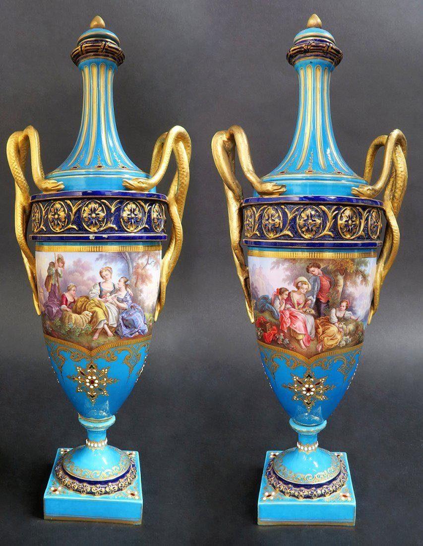Large Pair of French Hand Painted Sevres Vases