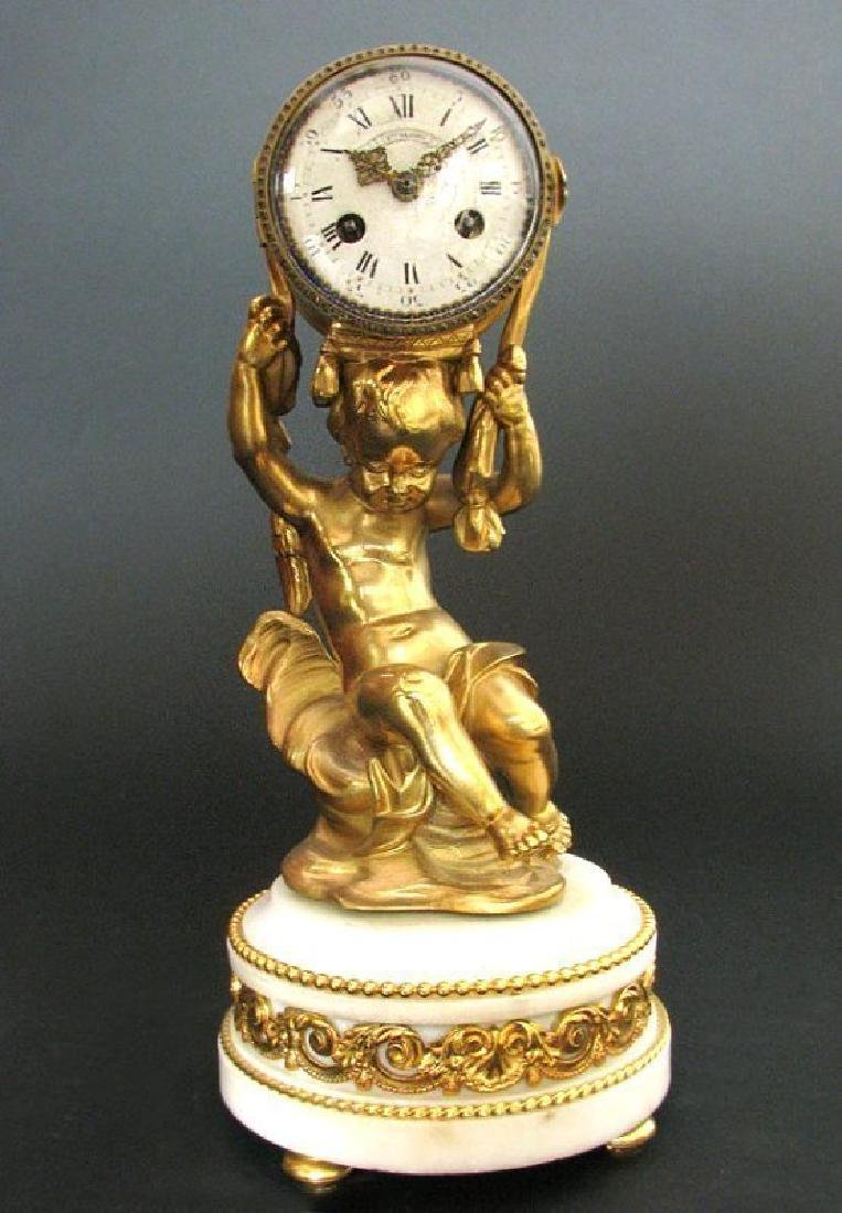 Magnificent Figural Table Clock Signed Henri Dasson