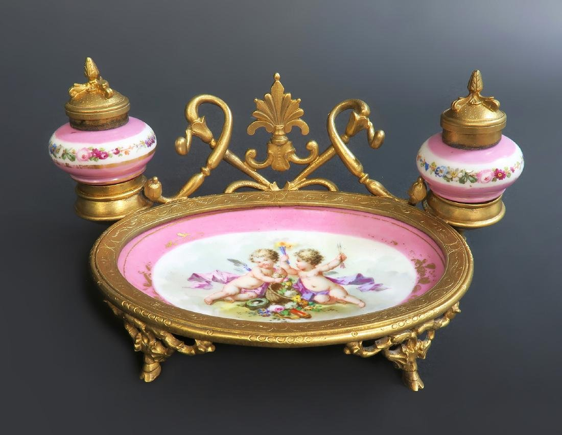 19th C. French Sevres & Bronze Inkwell