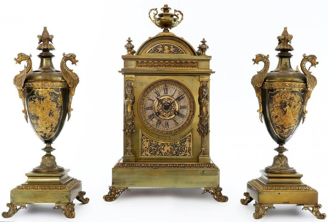 French Bronze Figural Mantle Clock Set