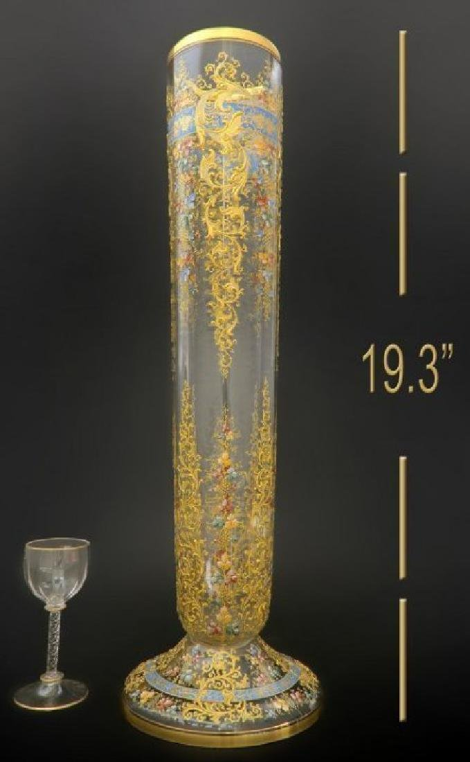 19th C. Monumental Moser Enameled Hand Painted Vase