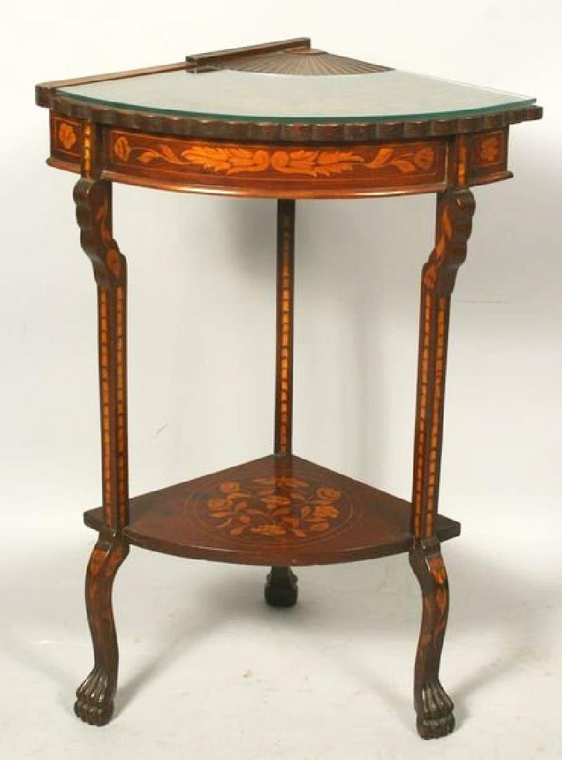 19th Century Dutch Marquetry inlaid mahogany fan table