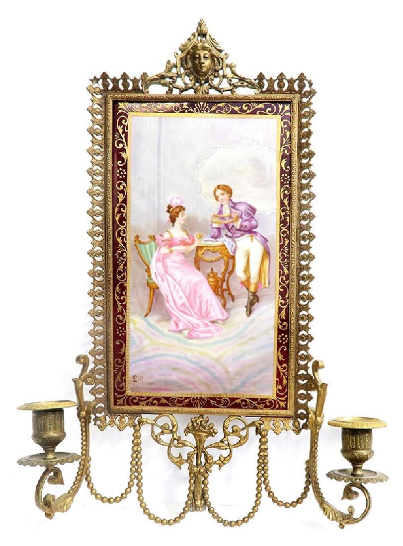 19th C. Meissen Style Bronze & Porcelain Frame