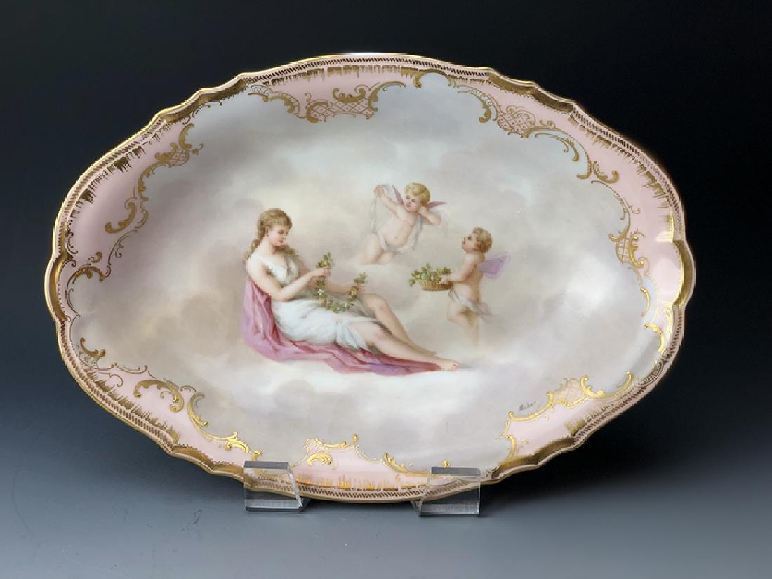 An Austrian Viennese Hand Painted Porcelain Plate