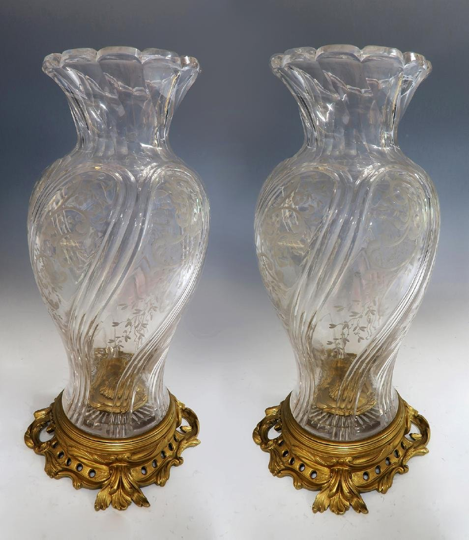 Large Pair of French Bronze & Baccarat Crystal Vases