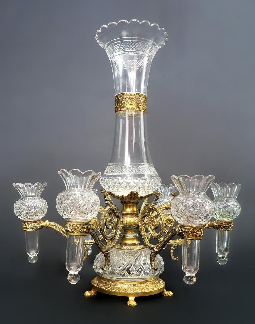 French Bronze & Baccarat Crystal Centerpiece/Epergne