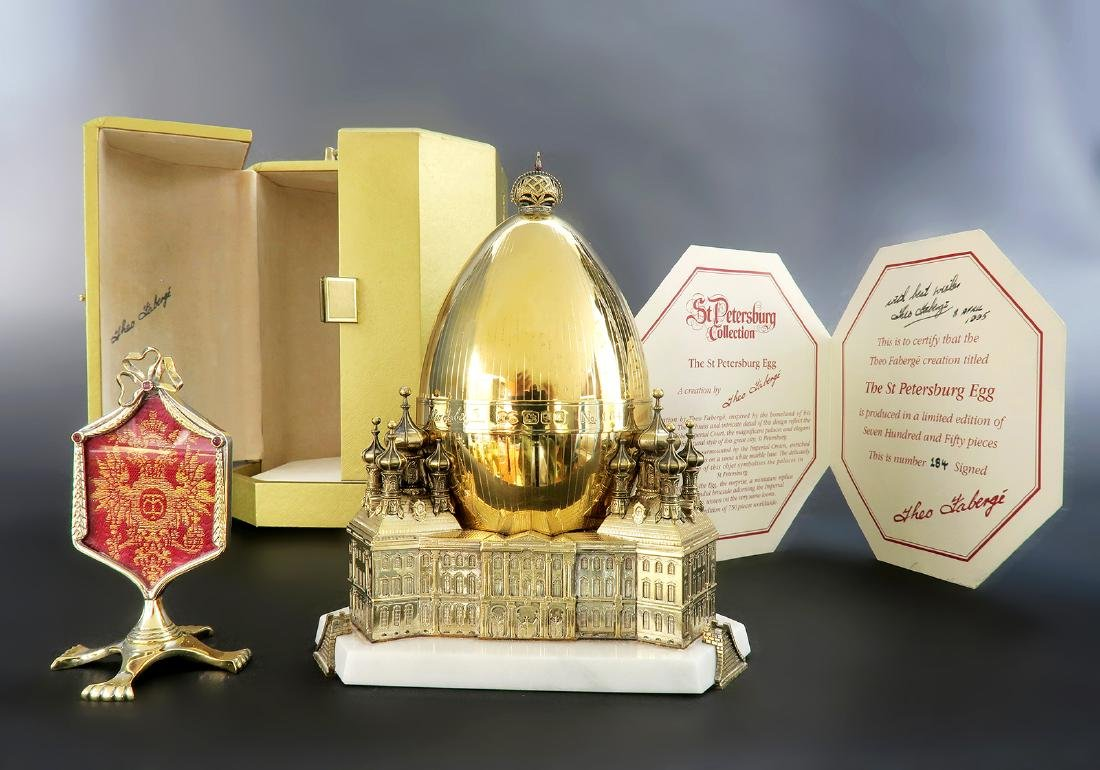 """Sterling Silver """"Saint Petersburg"""" Egg By Theo Faberge"""