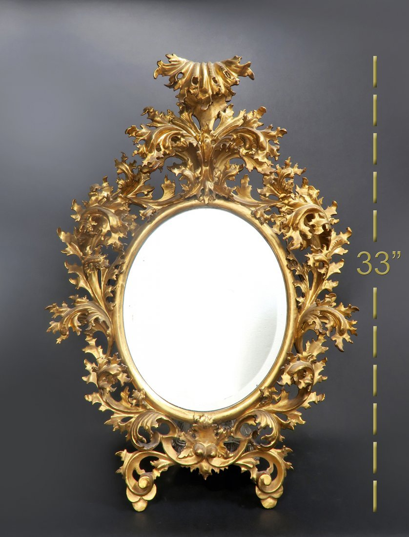 19th C. Large French Wooden Rococo Frame Mirror